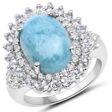 8.08 Carat Genuine Aquamarine and White Topaz .925 Sterling Silver Ring
