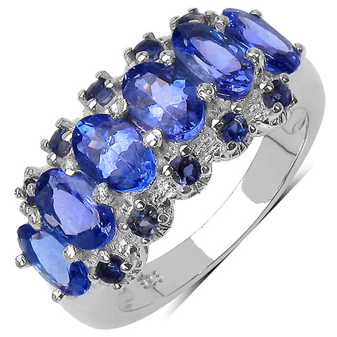 2.89 Carat Genuine Tanzanite .925 Sterling Silver Ring