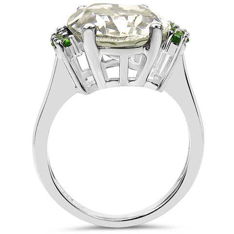 8.70 Carat Genuine Green Amethyst & Chrome Diopside .925 Sterling Silver Ring
