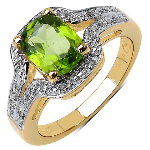 14K Yellow Gold Plated 1.38 Carat Genuine Peridot & White Topaz .925 Streling Silver Ring
