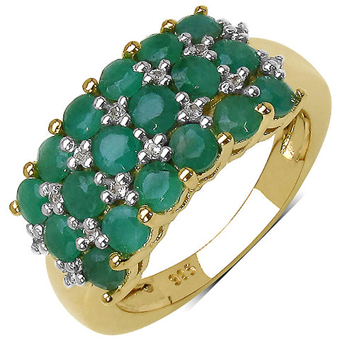 14K Yellow Gold Plated 1.87 Carat Genuine Emerald & White Topaz .925 Streling Silver Ring