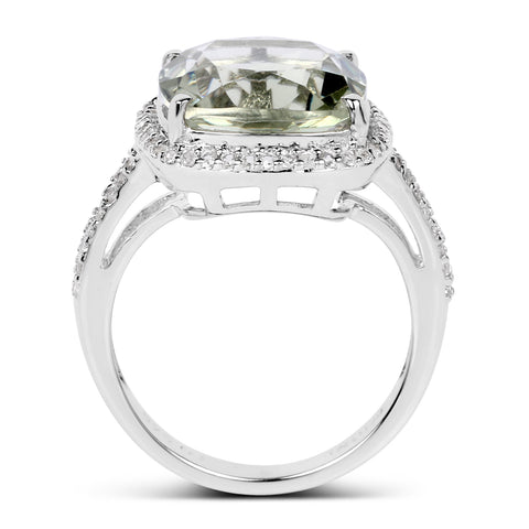 6.66 Carat Genuine Green Amethyst and White Topaz .925 Sterling Silver Ring