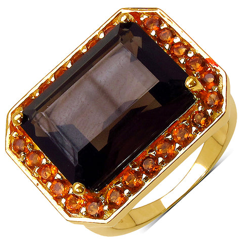 14K Yellow Gold Plated 11.66 Carat Genuine Smoky Quartz .925 Sterling Silver Ring