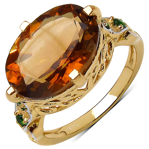 14K Yellow Gold Plated 5.70 Carat Genuine Citrine .925 Sterling Silver Ring