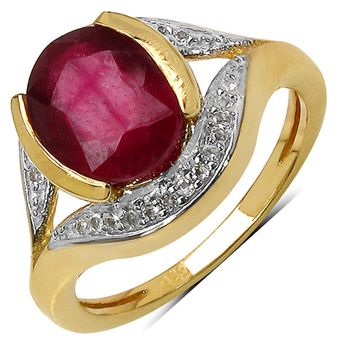 14K Yellow Gold Plated 3.60 Carat Genuine Ruby & White Topaz .925 Streling Silver Ring