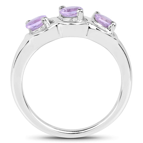 0.75 Carat Genuine Pink Amethyst .925 Sterling Silver Ring