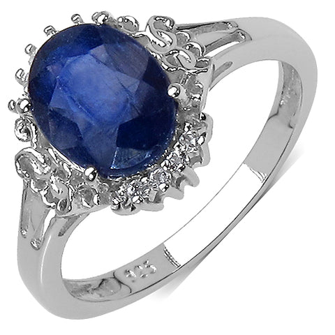 2.47 Carat Genuine Sapphire .925 Sterling Silver Ring