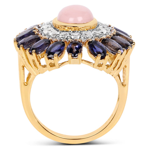 14K Yellow Gold Plated 5.44 Carat Genuine Pink Opal, Iolite And White Topaz .925 Sterling Silver Ring