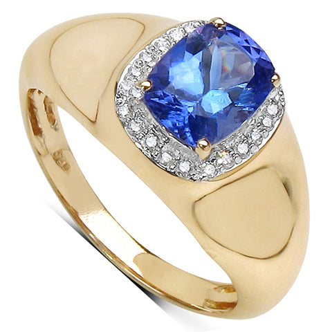 1.51 Carat Genuine Tanzanite and White Diamond 14K Yellow Gold Ring