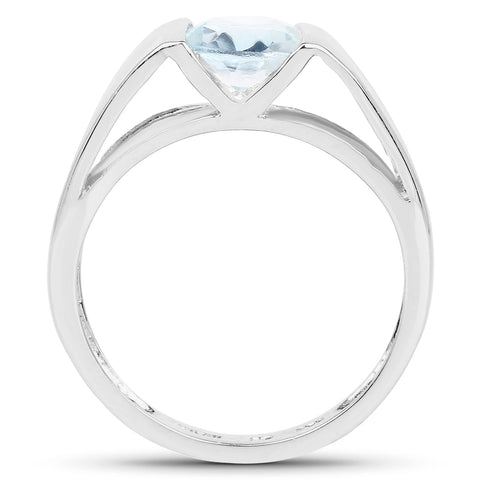 1.48 Carat Genuine Blue Topaz .925 Sterling Silver Ring