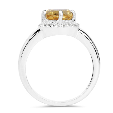 2.72 Carat Genuine Citrine and White Topaz .925 Sterling Silver Ring