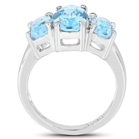 7.77 Carat Genuine Blue Topaz .925 Sterling Silver Ring