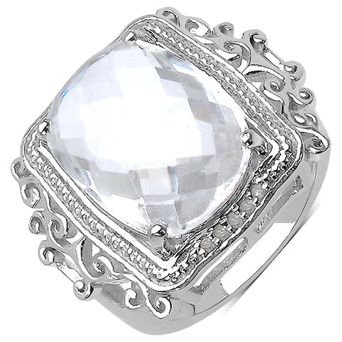 8.22 Carat Genuine Crystal Quartz .925 Sterling Silver Ring