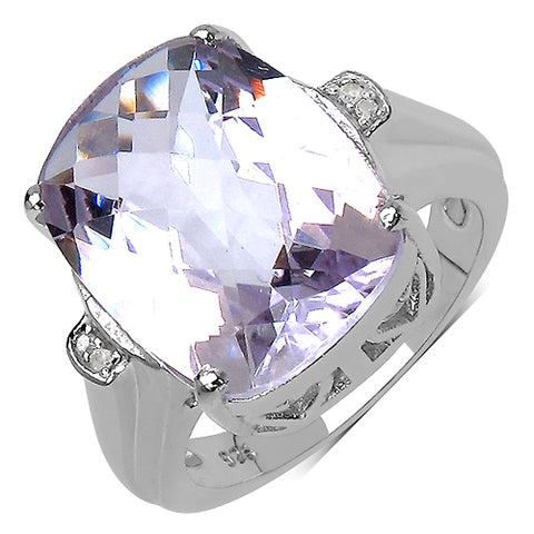 8.77 Carat Genuine Amethyst & White Diamond .925 Streling Silver Ring