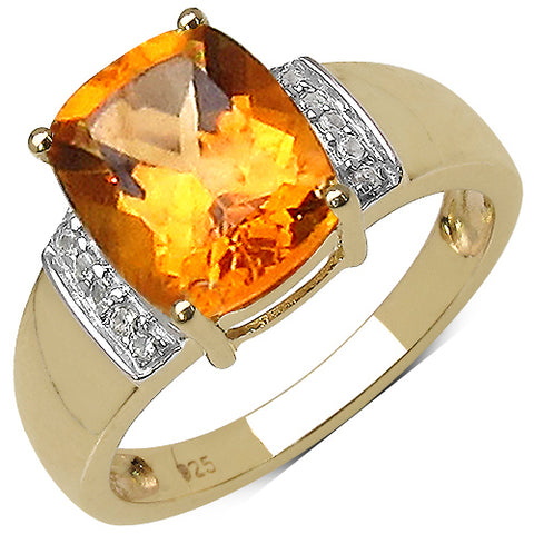 14K Yellow Gold Plated 2.66 Carat Genuine Citrine & White Diamond .925 Streling Silver Ring