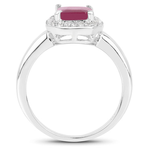 1.98 Carat Genuine Glass Filled Ruby & White Topaz .925 Sterling Silver Ring