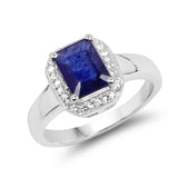 2.63 Carat Genuine Glass Filled Sapphire & White Topaz .925 Sterling Silver Ring