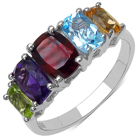 2.70 Carat Genuine Multi Stone .925 Streling Silver Ring