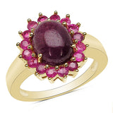 14K Yellow Gold Plated 5.07 Carat Genuine Ruby .925 Sterling Silver Ring