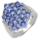2.46 Carat Genuine Tanzanite & White Diamond .925 Streling Silver Ring