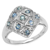 0.49 Carat Genuine Sapphire .925 Sterling Silver Ring
