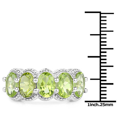 4.15 Carat Genuine Peridot .925 Sterling Silver Ring