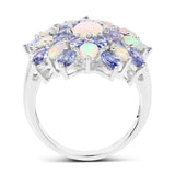 4.17 Carat Genuine Ethiopian Opal And Tanzanite .925 Sterling Silver Ring