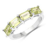 2.20 Carat Genuine Peridot .925 Sterling Silver Ring