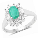 1.23 Carat Genuine Emerald and White Topaz .925 Sterling Silver Ring