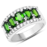 3.56 Carat Genuine Chrome Diopside and White Zircon .925 Sterling Silver Ring