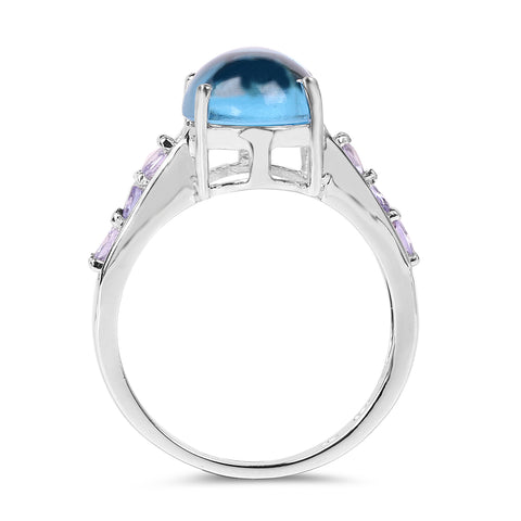 4.77 Carat Genuine Swiss Blue Topaz and Tanzanite .925 Sterling Silver Ring