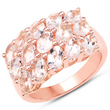 18K Rose Gold Plated 3.30 Carat Genuine Morganite .925 Sterling Silver Ring