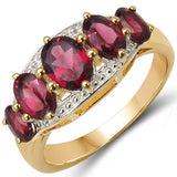 14K Yellow Gold Plated 2.60 Carat Genuine Rhodolite .925 Sterling Silver Ring