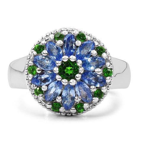 1.03 Carat Genuine Chrome Diopside & Tanzanite .925 Sterling Silver Ring