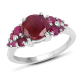 3.26 Carat Genuine Ruby .925 Sterling Silver Ring