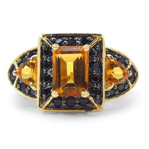 14K Yellow Gold Plated 2.22 Carat Genuine Citrine & Black Spinel .925 Sterling Silver Ring
