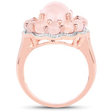 14K Rose Gold Plated 6.76 Carat Genuine Morganite .925 Sterling Silver Ring