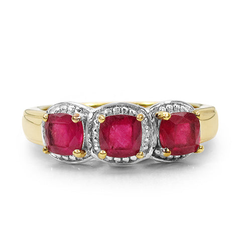 14K Yellow Gold Plated 1.98 Carat Genuine Ruby .925 Sterling Silver Ring