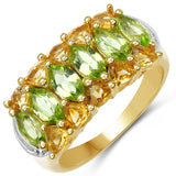 14K Yellow Gold Plated 3.00 Carat Genuine Peridot & Citrine .925 Sterling Silver Ring