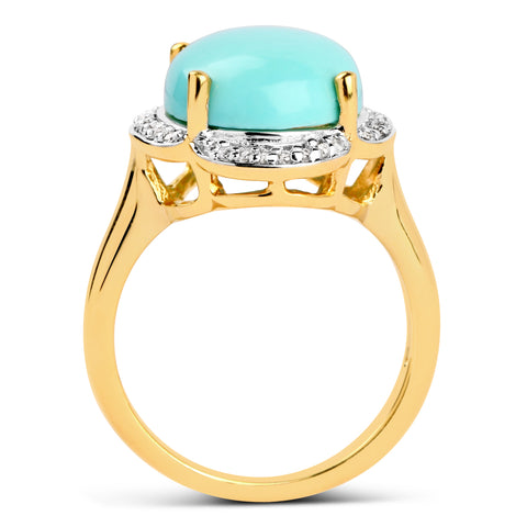 14K Yellow Gold Plated 7.04 Carat Genuine Turquoise & White Topaz .925 Sterling Silver Ring