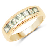 14K Yellow Gold Plated 1.26 Carat Genuine Green Sapphire .925 Sterling Silver Ring