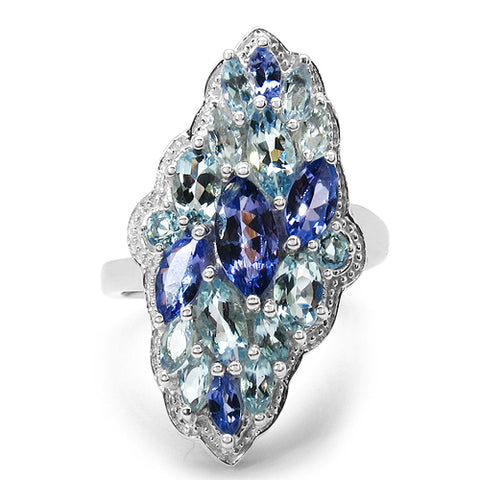 3.20 Carat Genuine Tanzanite & Blue Topaz .925 Sterling Silver Ring