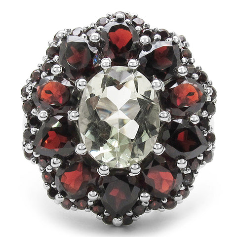 7.49 Carat Genuine Green Amethyst & Garnet .925 Sterling Silver Ring