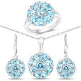 11.55 Carat Genuine Swiss Blue Topaz and White Topaz .925 Sterling Silver 3 Piece Jewelry Set (Ring, Earrings, and Pendant w/ Chain)