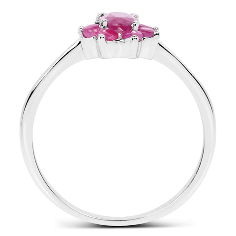 0.88 Carat Genuine Ruby .925 Sterling Silver Ring