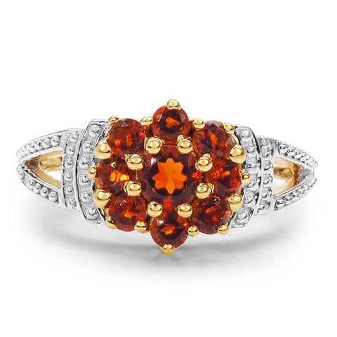 14K Yellow Gold Plated 0.81 Carat Genuine Citrine .925 Sterling Silver Ring