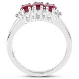 1.15 Carat Genuine Glass Filled Ruby & White Diamond .925 Sterling Silver Ring