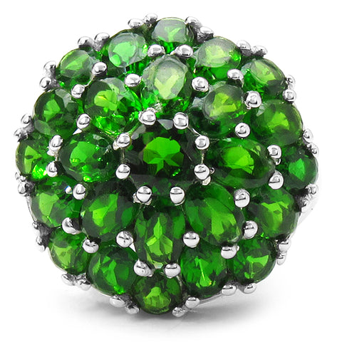 5.34 Carat Genuine Chrome Diopside .925 Sterling Silver Ring