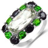 5.79 Carat Genuine Green Amethyst, Chrome Diopside & Black Spinel .925 Sterling Silver Ring