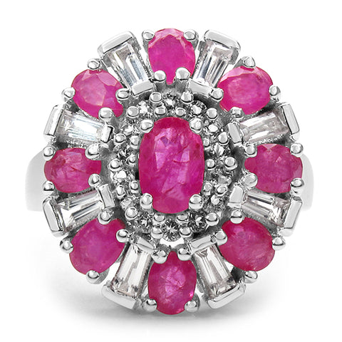 3.25 Carat Genuine Ruby & White Topaz .925 Sterling Silver Ring
